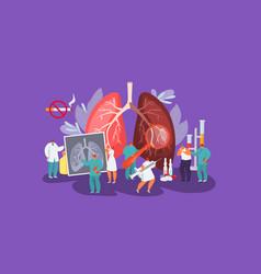 Lungs disease patient and working doctors vector