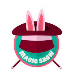 Magic show hat with rabbit ears isolated on white vector