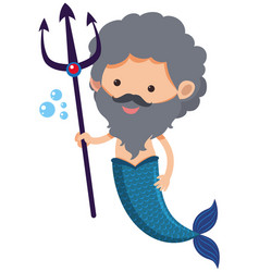 Male mermaid with trident vector