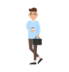 man holding coffee suitcase vector image