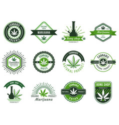 Marijuana label smoke weeds cannabis joint and vector