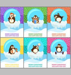 Merry christmas animals in balls penguins set vector