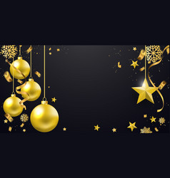 merry christmas banner text and new year xmas vector image