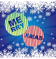 Merry xmas with snowflakes over blue background vector