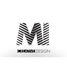 Mi m i lines letter design with creative elegant vector