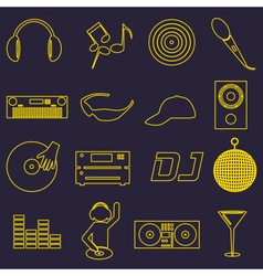 Music club dj simple outline icons set eps10 vector