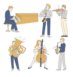 Musicians with musical instruments jazz or vector