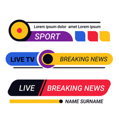 news headlines isolated icons tv channel live vector image