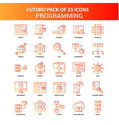 orange futuro 25 programming icon set vector image