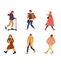 People walking perform outdoor activities set vector