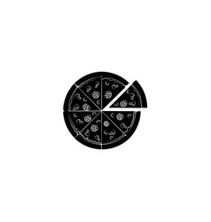 pizza icon black on white background vector image
