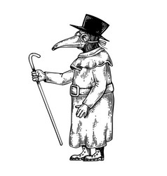 Plague doctor engraving vector
