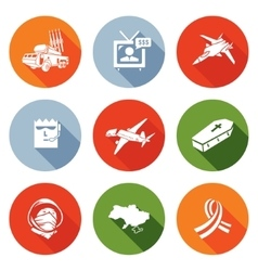 Plane Crash in a war zone Icons Set vector image vector image