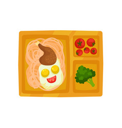 plastic lunch box with tasty food spaghetti vector image