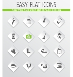 Plumbing related icons set vector image