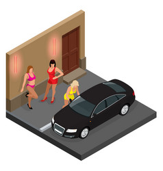 Prostitute in short skirt talking to a client vector