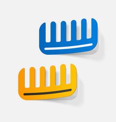 Realistic paper sticker comb vector