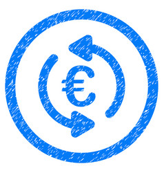 Refresh euro rounded icon rubber stamp vector
