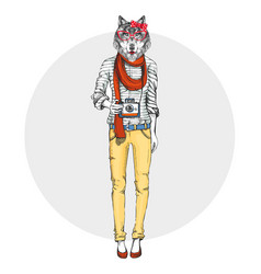 Retro hipster animal girl wolf with photo camera vector