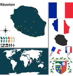 Reunion map world vector