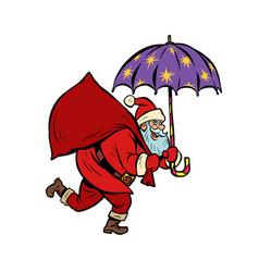santa claus with star umbrella magical night vector image