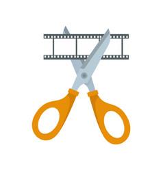Scissors cut film icon flat style vector