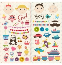 Scrapbook boy and girl set vector