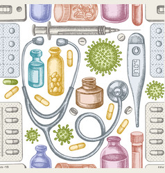 seamless pattern with hand drawn pastel vial vector image