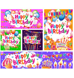 set birthday cards and banners vector image