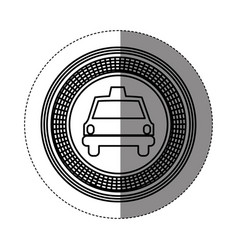 Silhouette emblem taxi front car icon vector