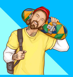 skater boy hipster holding skateboard pop art vector image