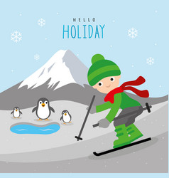 ski travel mountain holiday winter boy vector image