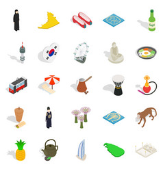 Spirit of korea icons set isometric style vector