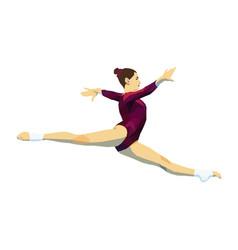 Split jump woman gymnast vector