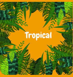 Summer tropical card with leaves cartoon style vector