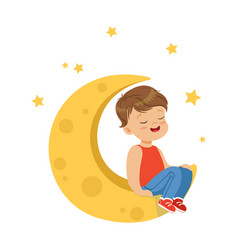 sweet little boy with closed eyes sitting on the vector image
