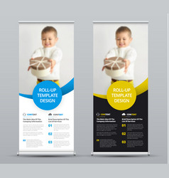 template of a roll-up banner with colored round vector image