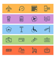 transportation icons set with fly tickets travel vector image