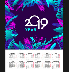 Tropical calendar 2019 year vector