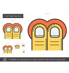 Two-finger tap line icon vector image