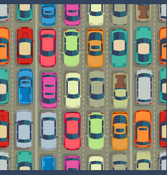 urban cars seamless texture huge traffic jam vector image