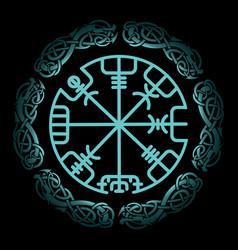 Vegvisir magic navigation compass ancient vector