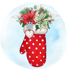 watercolor hand drawn mitten with poinsettia vector image