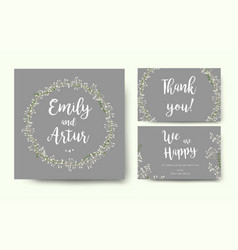 Wedding floral invitation invite flower card vector
