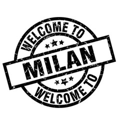 Welcome to milan black stamp vector