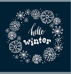 Winter lettering design on snow background vector