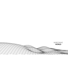 Wireframe Landscape Background Futuristic vector
