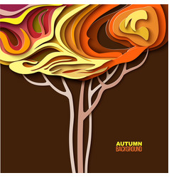 autumn tree abstract paper cut design vector image