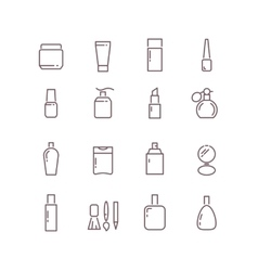 Cosmetic package bottles thin outline icons vector image