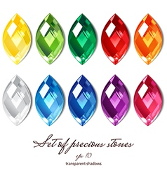 Crystals set of 10 colors vector image vector image